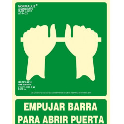 SEÑA EMPUJAR BARRA PARA ABRIR PUERTA