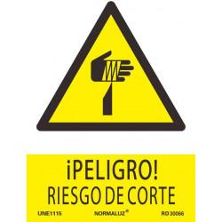 SEÑAL PELIGRO RIESGO CORTE ADHESIVO