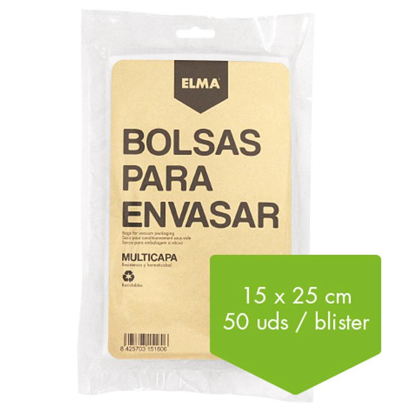 BOLSA PARA ENVASAR AL VACIO. 15 X 25 CM ELMA (50 UNIDADES)