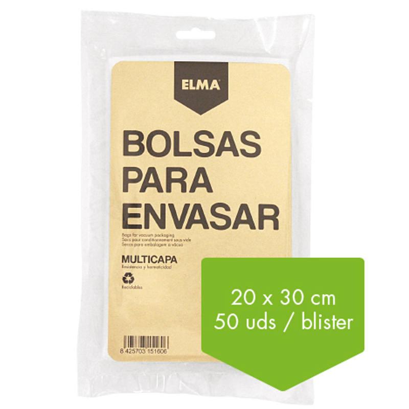 BOLSA PARA ENVASAR AL VACIO 20 X 30 CM ELMA (50 UNIDADES)