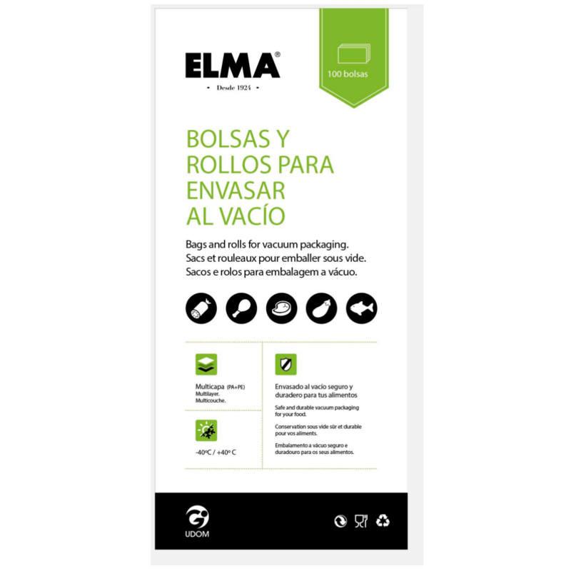 BOLSA PARA ENVASAR AL VACIO. MALLA 13 X 45 CM ELMA (100 UNIDADES)